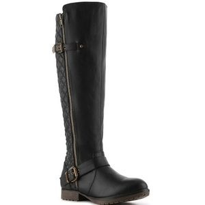 Steve Madden Black Qiana Quilted Riding Boots